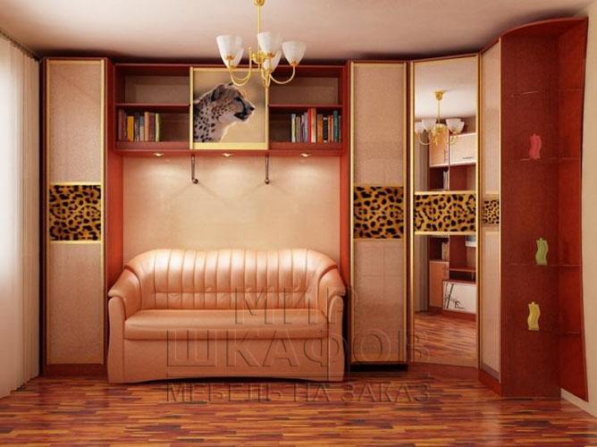 Интерьер комнаты диван и шкаф